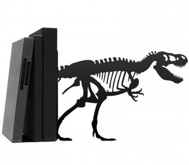 Grand bloc-livres déco métal noir dinosaure T-rex