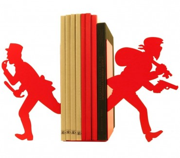 Paire grands cale-livres rouges Gendarme et Voleur