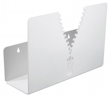 Porte-revues mural en métal Eclair blanc
