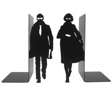 Grands serre-livres noir Agents secrets
