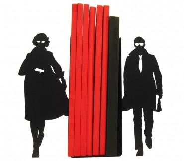 Serre-livres noir Agents secrets pour Bande-dessinées