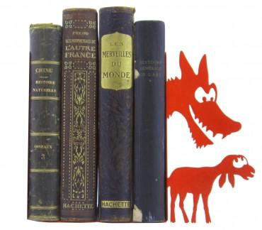 Grand serre-livres métal rouge fable Le loup et l'agneau