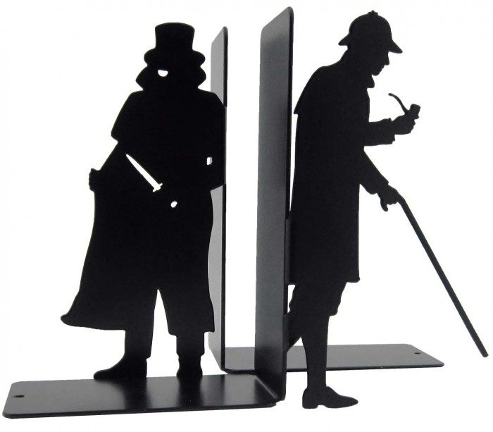 Paire de serre-livres Sherlock Holmes et Moriarty