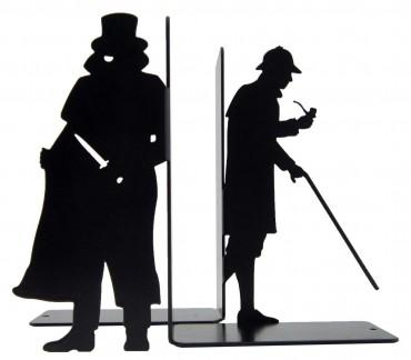 Paire de cale-livres noirs Sherlock Holmes et Moriarty