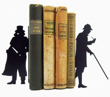 Paire de blocs-livres noirs Sherlock Holmes et Moriarty