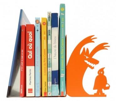 """Serre-livres déco chambre enfant orange """"Au loup"""""""