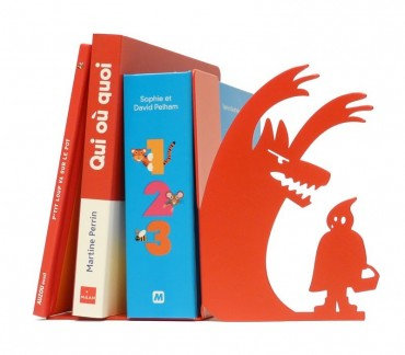 """Serre-livres déco Petit chaperon rouge """"Au loup"""""""