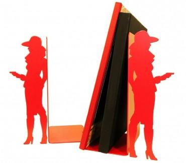 "Grand serre-livres métal rouge ""Bourgeoise"""