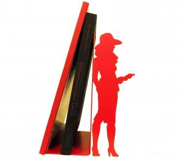"""Grand cale-bande-dessinée en métal rouge """"Bourgeoise"""""""