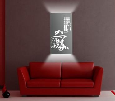 """Applique lumineuse design blanc """"Roman noir""""déco BD"""