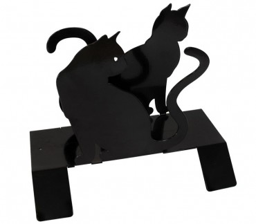 """Porte-journaux contemporain noir """"Les chats"""""""