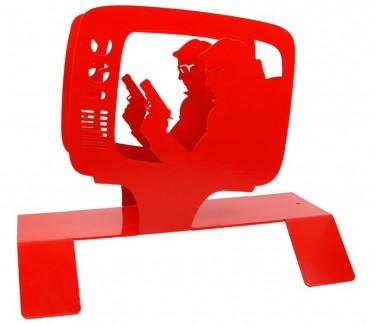 """Porte-magazines métal rouge """"TV"""""""