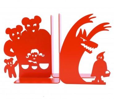 Boucle d'or et Petit chaperon en serre-livres déco rouges