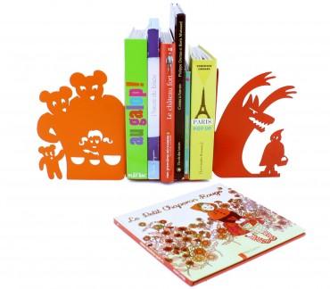 Boucle d'or et Petit chaperon cale-livres décoratifs rouge orange