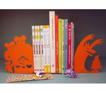Boucle d'or et Petit chaperon bloc-livres déco enfant orange