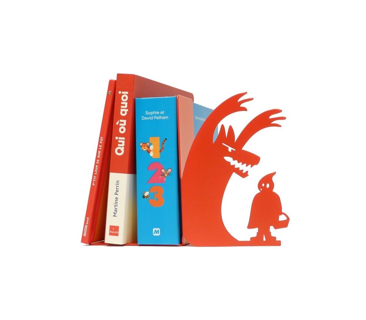 le serre livres au loup shohan design en d co il r interpr te le petit chaperon rouge dans. Black Bedroom Furniture Sets. Home Design Ideas