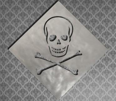 """Dessous de plat tête de mort """"Toxic"""" insolite"""