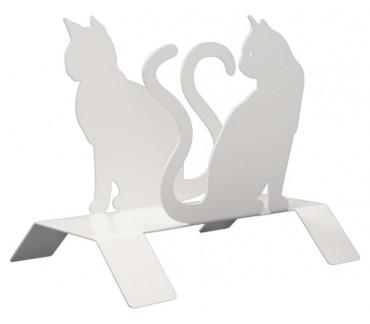 "Original porte-revues blanc ""Les chats"""